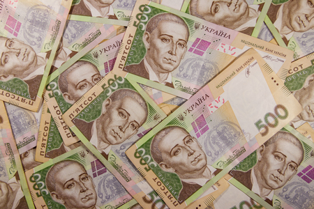 Ukrainian currency. Background of the five hundred hryvnia banknotes Stock Photo