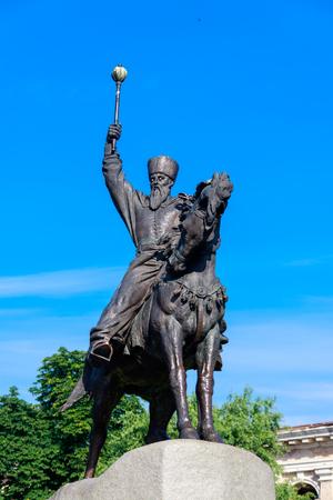 Monument to hetman Petro Konashevych-Sahaidachny at Kontraktova Square in Kyiv, Ukraine