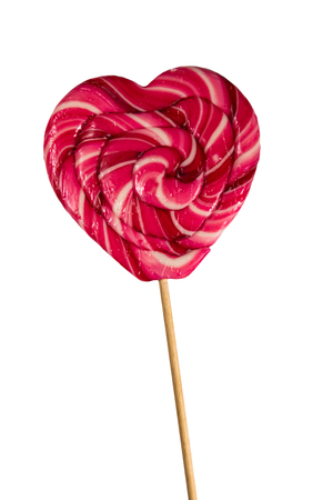 Heart shaped lollipop isolated on white background