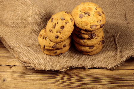 Chocolate chip cookies on wooden table