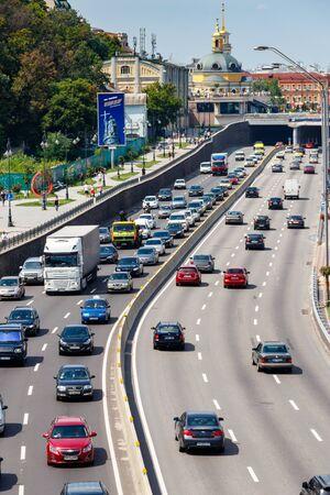 Kiev, Ukraine - July 28, 2018: Traffic cars on the multi lane highway during rush hour Editoriali