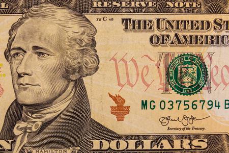 Macro shot di dieci dollari di banconota