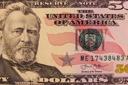 Macro shot of fifty american dollars bill