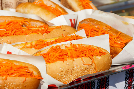 Fresh hot dogs with korean carrot. Fast food, street food