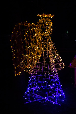 Illuminated Angel. Christmas decoration in city park