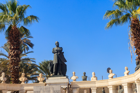 Monument to founder of Museum of Egyptian Antiquities Auguste Mariette in Garden of the Egyptian Museum on Tahrir Square in Cairo, Egypt