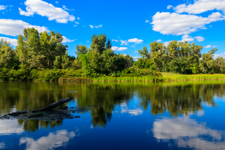Summer landscape with beautiful river, green trees and blue sky Reklamní fotografie