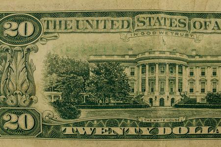 Tiro de macro de billete de veinte dólares
