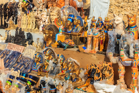 Various traditional egyptian souvenirs for sale in street market