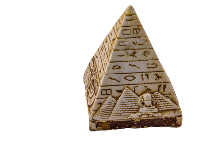 Souvenir pyramid from Egypt isolated on white background