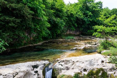 Martvili canyon in Georgia. Beautiful natural canyon with view of the mountain river Abasha 版權商用圖片