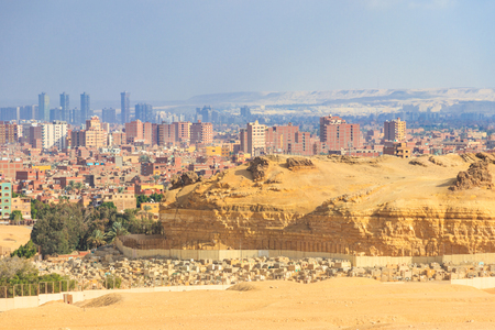 View of Cairo city, capital of Egypt from the Giza plateau