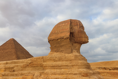 Egyptian Great Sphinx and pyramids of Giza in Cairo, Egypt