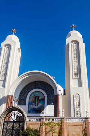 Facade of Coptic Orthodox church in Hurghada, Egypt Imagens