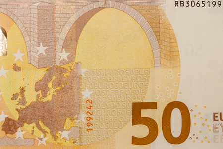 Macro shot of fifty euro banknote
