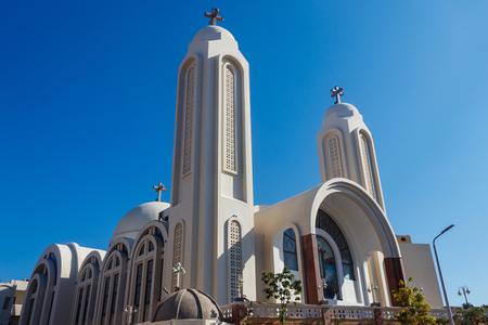 Facade of Coptic Orthodox church in Hurghada, Egypt Imagens