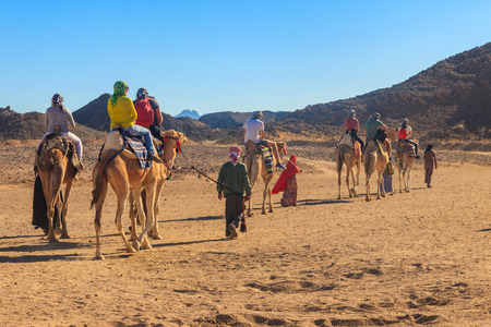 Group of tourists riding camels in Arabian desert, Egypt
