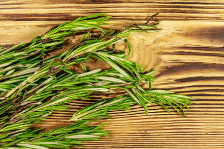 Fresh rosemary herbs on a wooden table. Top view 版權商用圖片