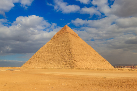 Pyramid of Khafre or of Chephren is the second-tallest and second-largest of the Ancient Egyptian Pyramids of Giza Stock fotó