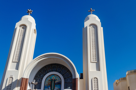 Facade of Coptic Orthodox church in Hurghada, Egypt Imagens - 121671930