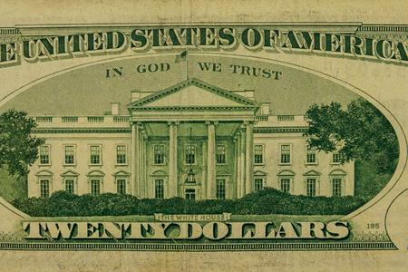 Macro shot of twenty dollar bill