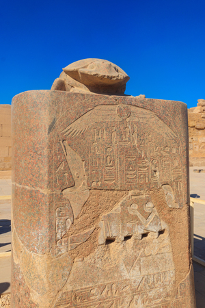 Scarab monument at Karnak temple in Luxor, Egypt Stock Photo