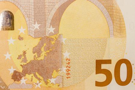 Makroaufnahme einer 50-Euro-Banknote Standard-Bild