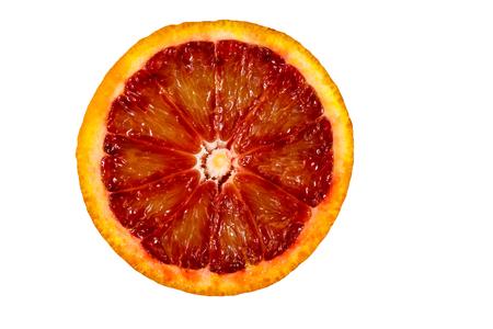 Slice of red blood orange fruit isolated on white background Stok Fotoğraf - 123209011