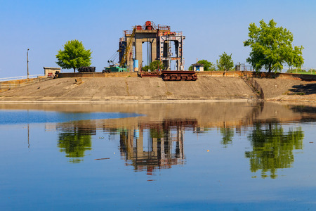 Svetlovodsk hydroelectric power plant on the Dnieper river in Ukraine