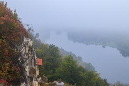 Lyadovsky rocky monastery is a male monastery located on a rocky terrace of the 90-meter high mountain over the Dniester river on its left bank, near Lyadova village in Vinnytsya region, Ukraine Stockfoto