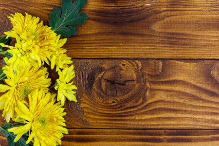Yellow chrysanthemums on wooden background. Top view, copy space