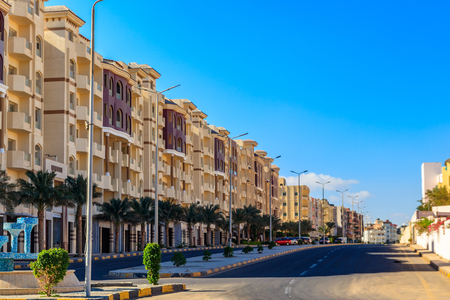 Street of Hurghada city in Egypt
