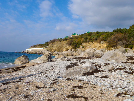 Empty beach of the Black sea at autumn in Foros, Crimea