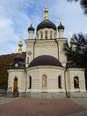 Foros Church (Church of Christs Resurrection) near Baidarsky Pass in Crimea 写真素材