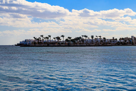 View of Red sea coast on the beach in Hurghada, Egypt