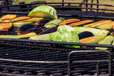 Fresh vegetables cooking on the grill