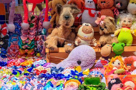 Group of handmade soft fabric toys for sale Reklamní fotografie - 124774994
