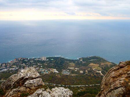 View of the Crimean mountains and the Black sea coast at autumn in Crimea