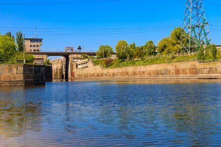 Gateway in the Svetlovodsk hydroelectric power plant on the Dnieper river, Ukraine