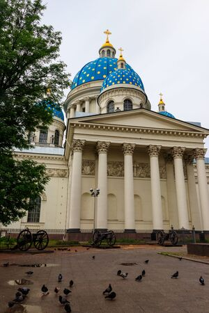 Trinity Cathedral with the old Turkish cannons in front, St. Petersburg, Russia
