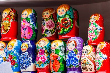 Traditional souvenirs from Russia - colorful nesting dolls, also known as matryoshka, babushka, stacking dolls, or Russian dolls