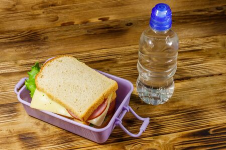 Lunch box with sandwiches and bottle of water on a wooden table Reklamní fotografie