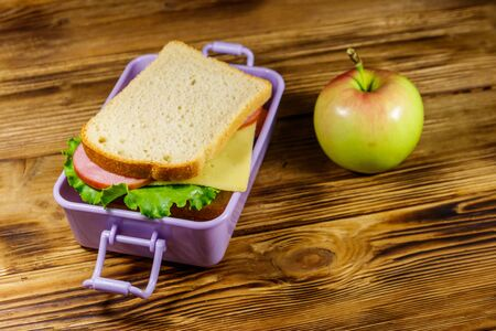 Lunch box with sandwiches and apple on a wooden table Reklamní fotografie