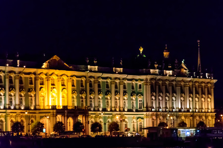 Night view of Winter Palace in St. Petersburg, Russia. View from the Neva river