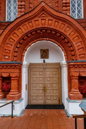 Entrance to cathedral of Shamordino Convent (Convent of St. Ambrose and Our Lady of Kazan) in Shamordino, Kaluga Oblast, Russia Stock fotó