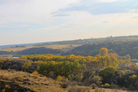 River Southern Bug in Ukraine on autumn Stock fotó