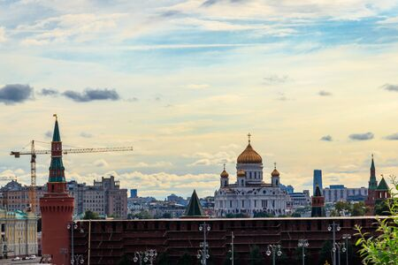 View of Moscow Kremlin and Cathedral of Christ the Saviour in the centre of Moscow, Russia