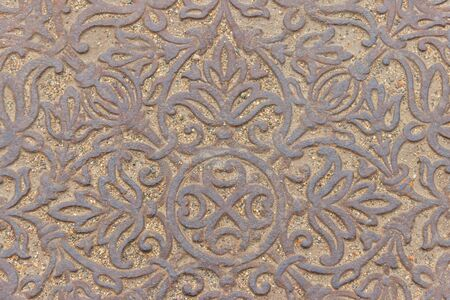 Texture of cast iron pavement for background