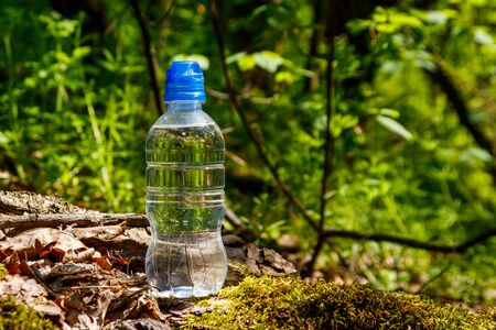 Plastic bottle with fresh drinking water on green forest background