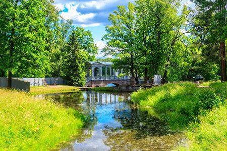 Marble bridge or Siberian Marble Gallery is a decorative pedestrian roofed Palladian bridge (gallery walkway) in Catherine Park in Pushkin (Tsarskoye Selo), Russia